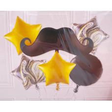 Набор шаров (35''/89 см) Усы, Черный, 6 шт. в упак. Falali