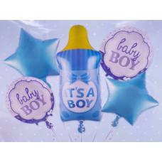 Набор шаров (35''/89 см) Бутылочка для мальчика, Голубой, 5 шт. в упак. Falali