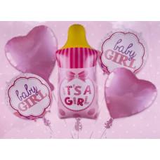 Набор шаров (35''/89 см) Бутылочка для девочки, Розовый, 5 шт. в упак. Falali