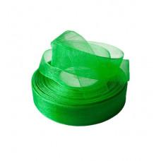Лента органза 2,5см*30м зелёный