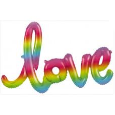 """Шар (48''/122 см) Фигура, Надпись """"Love"""", Радужный, Градиент, 1 шт. Falali"""