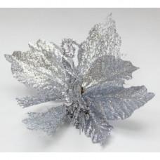Новогоднее украшение Цветок Серебряный  на клипсе 22x26