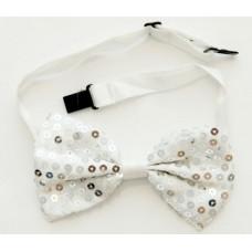 Маскарадный галстук-бабочка из полиэстера 10см серебро