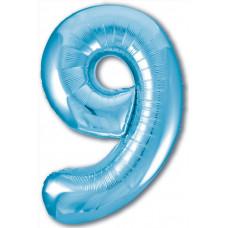 Шар (40''/102 см) Цифра, 9 Slim, Голубой, 1 шт. в упак. Agura