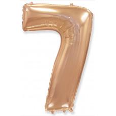 Шар (40''/102 см) Цифра, 7, Розовое Золото, 1 шт. в упак. Flexmetal