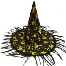 Карнавальная шляпа, Ведьма черн/золот с бахромой, 1 шт.
