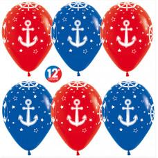 Шар (12''/30 см) Морские якоря, Красный (015)/Синий (041), пастель, 5 ст, 50 шт. Sempertex