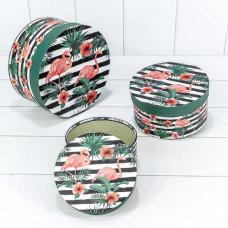 Набор коробок Круг, Фламинго, 21*11,5 см, 3 шт.