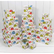 Набор коробок Куб, Слоники, Белый, 26*26*26 см, 10 шт.