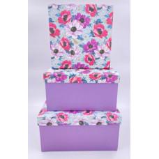 Набор коробок Квадрат, Разноцветные маки, 22*22*11,5 см, 3 шт.