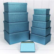 Набор коробок Кожа крокодила, Синий, 34*26*15 см, 10 шт.