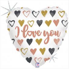 Шар (18''/46 см) Сердце, Я Люблю Тебя (граффити), Голография, 1 шт. Grabo