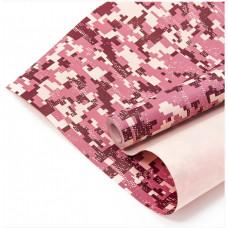 Упаковочная бумага, Крафт (0,7*10 м) Камуфляж, Пиксели, Красный, 1 шт.