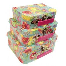 """Набор коробок чемоданчик из 3шт 20*14*7-25*20*10,5 """"615 Голубой, цветы+огурцы"""""""