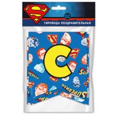 Гирлянда Флажки, Superman, С Днем Рождения!, 200 см, 1 шт.