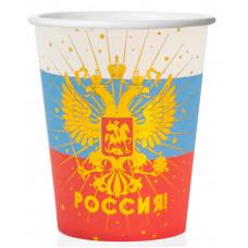 Стаканы (250 мл) Россия! (герб), Золото/Триколор, 6 шт.
