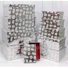 Коробка Новогодние подарки, Серебро, Металлик, 31*23*13,5 см, 1 шт.