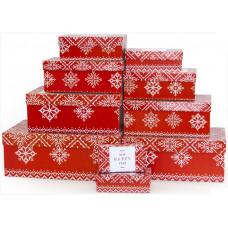 Коробка Счастливого Нового Года! (скандинавский узор), Красный, 25,5*16,5*10,5 см, 1шт.