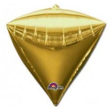"""Шар фольгированный 3D алмаз 17""""/43см Металлик Gold 3шт Anagram"""