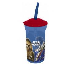 Стакан пластиковый с соломинкой и крышкой (460 мл) Звездные войны Классика, 1 шт.