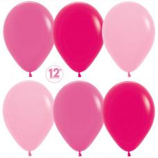 Шар (12''/30 см) Ярко-розовое ассорти (009/012/014), пастель, 50 шт. Sempertex