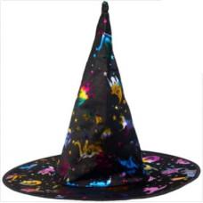 Карнавальная шляпа, Ведьма черная/радужная, 1 шт.