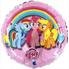 Шар (18''/46 см) Круг, My Little Pony, Дружные Лошадки, Розовый, 1 шт. Grabo