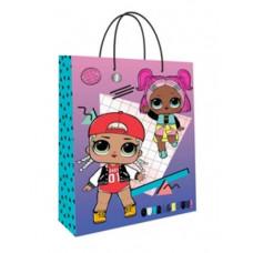 """Пакет подарочный 220*310*100мм """"LOL"""" розово-фиолетовый"""