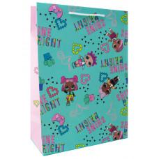 """Пакет подарочный 220*310*100мм """"LOL"""" мятный с розовым"""