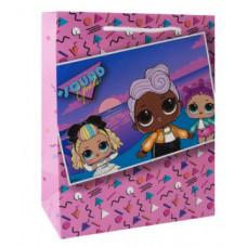 """Пакет подарочный 180*227*100мм """"LOL"""" розовый"""