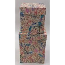 Набор коробок, Печати и штампы, Бежевый, 2 шт.